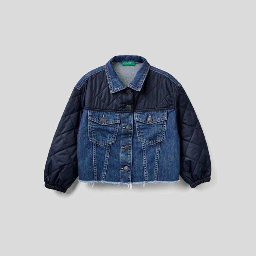 Giubbino jeans con dettagli trapuntati