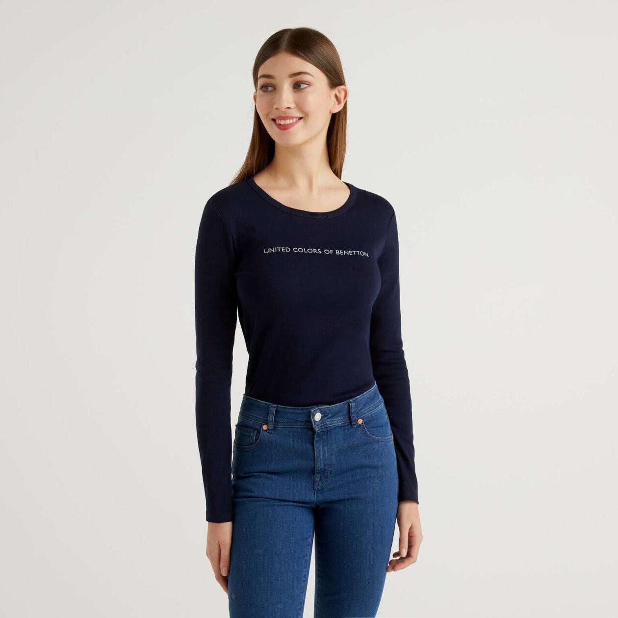T-shirt bleu foncé à manches longues 100% coton