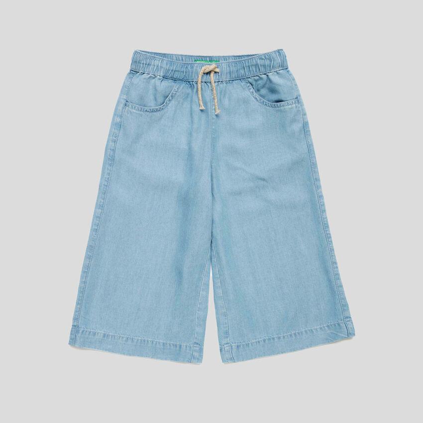 Pantaloni a 3/4 in chambray