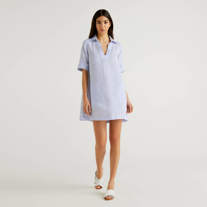 Short dress in 100% linen