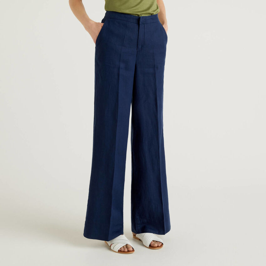 Pantalon palazzo 100% lin