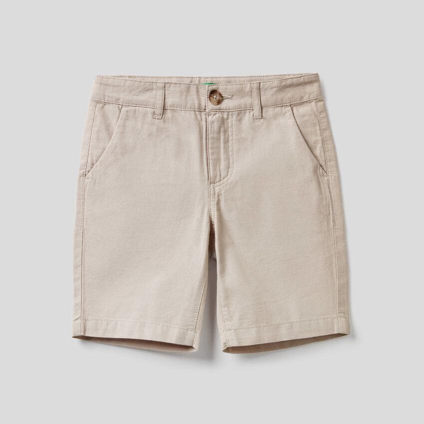 Bermuda en pur coton tissé teint