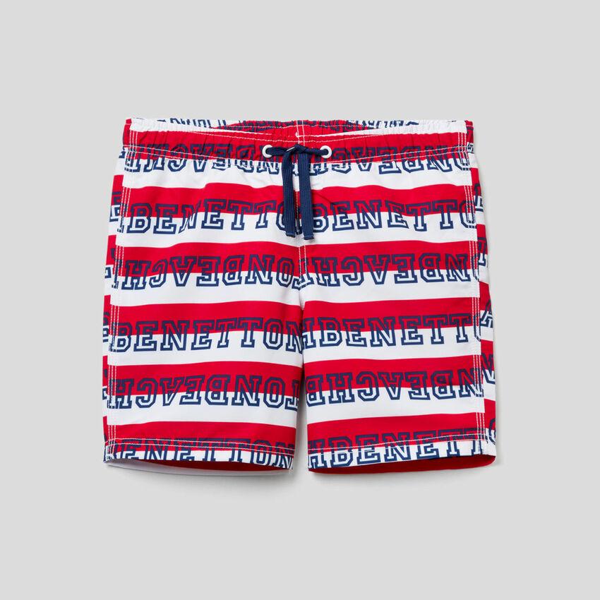 Striped pattern swim trunks
