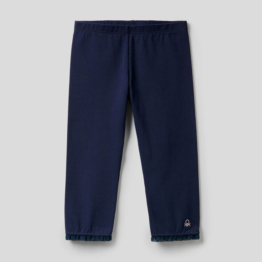 3/4-Leggings aus elastischer Baumwolle