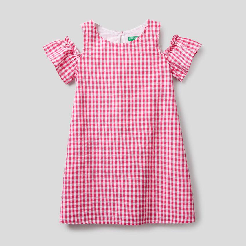 Trapezförmiges Kleid mit Vichy-Muster