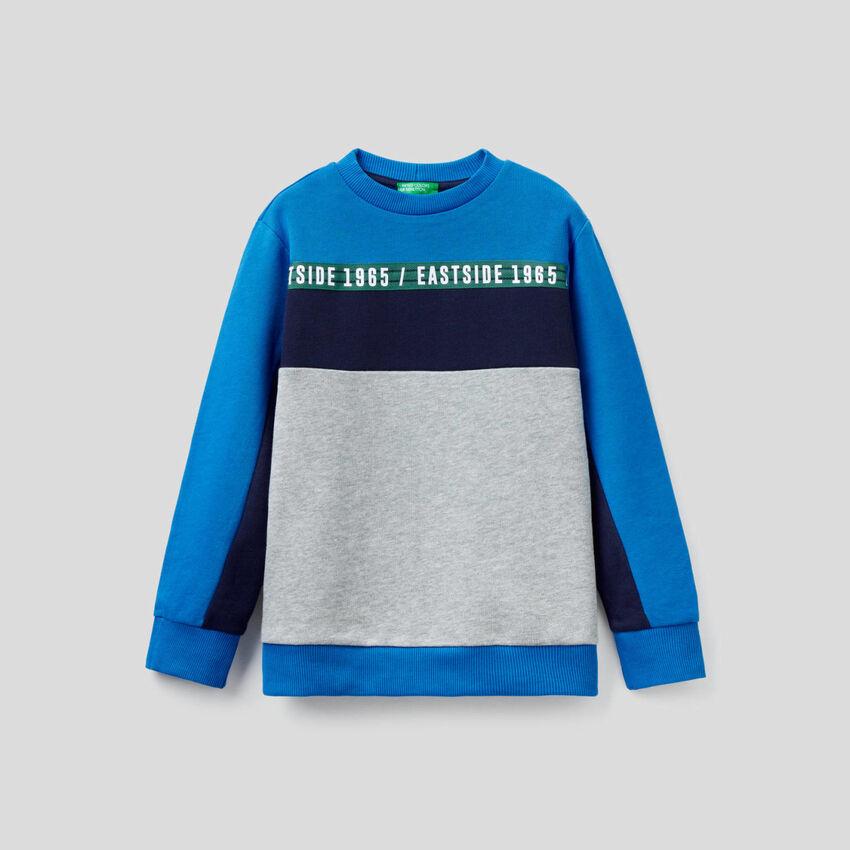 Color block sweatshirt in 100% cotton