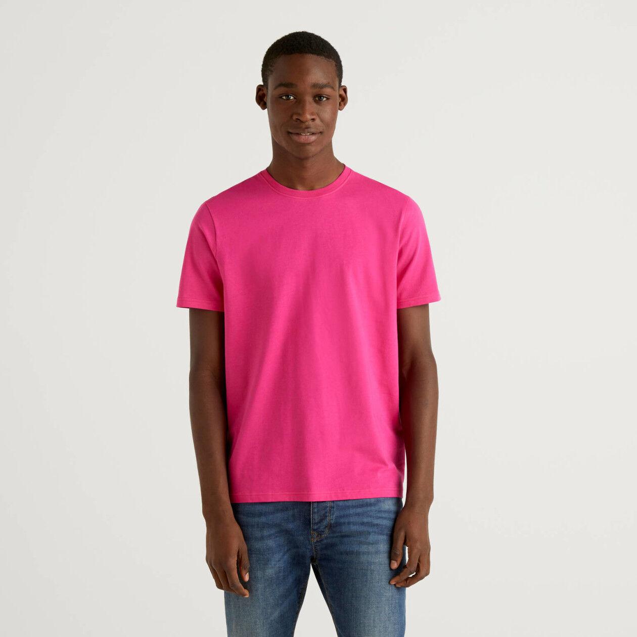 Fuchsiafarbenes T-Shirt aus reiner Baumwolle