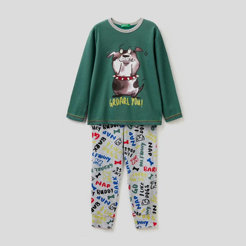 Pyjama en pur coton avec pantalon fantaisie