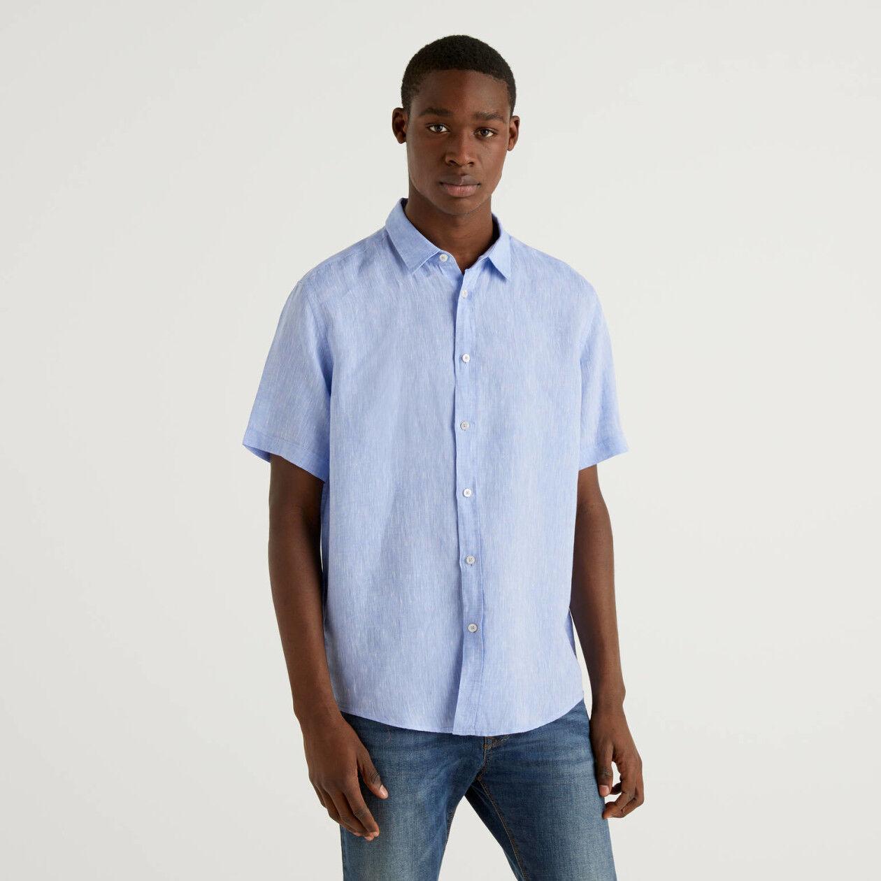 Hemd aus 100% Leinen mit kurzen Ärmeln
