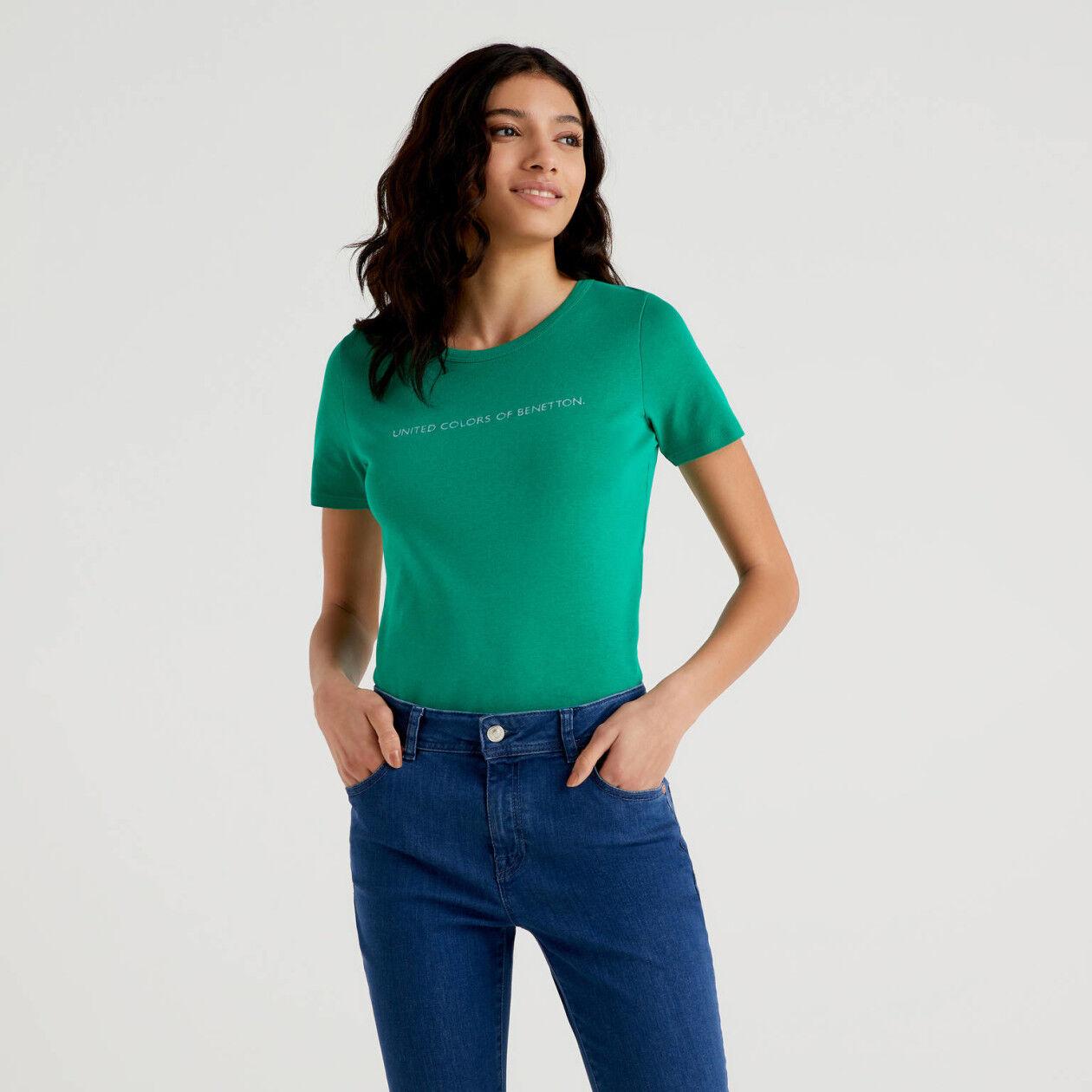 T-shirt logo in cotone a fibra lunga