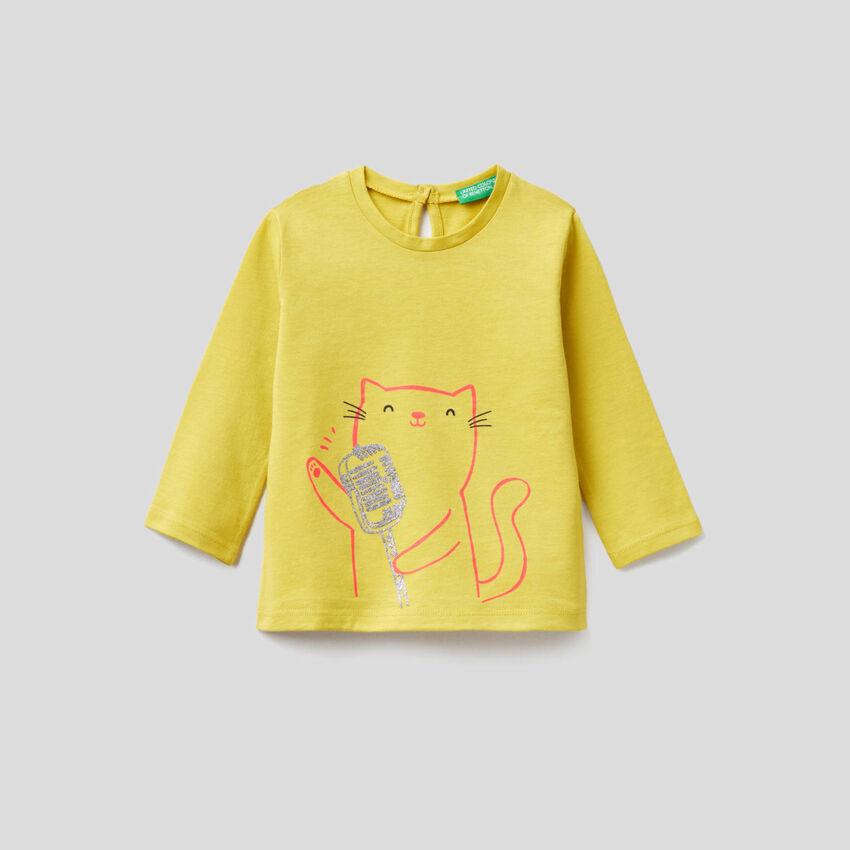 T-Shirt  aus reiner Bio-Baumwolle mit langen Ärmeln