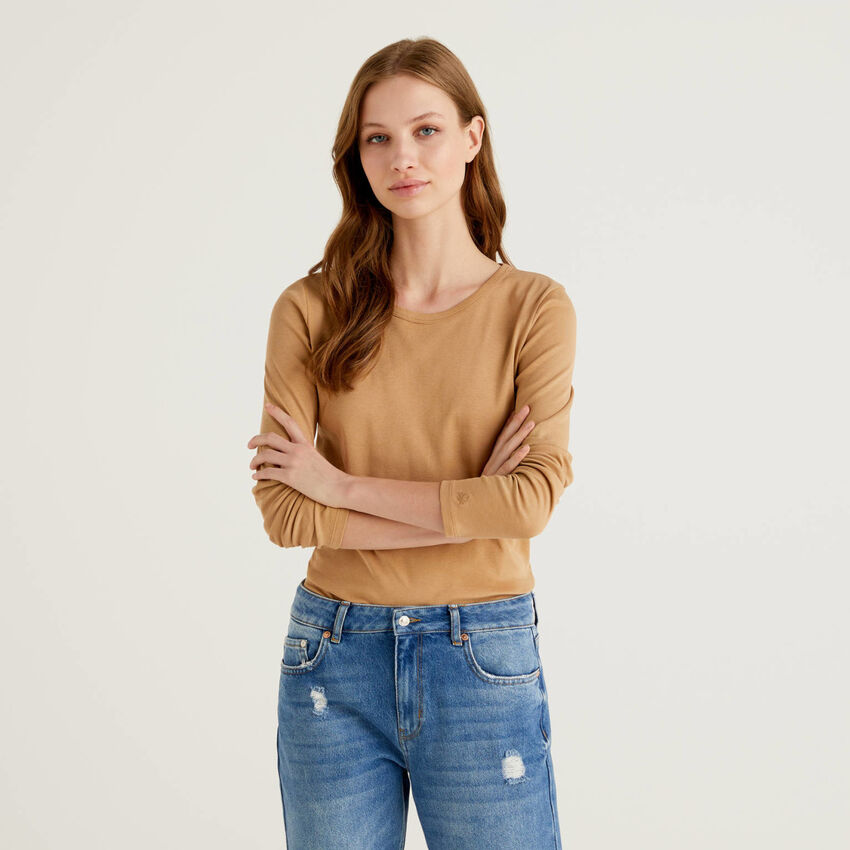 T-shirt a manica lunga in puro cotone