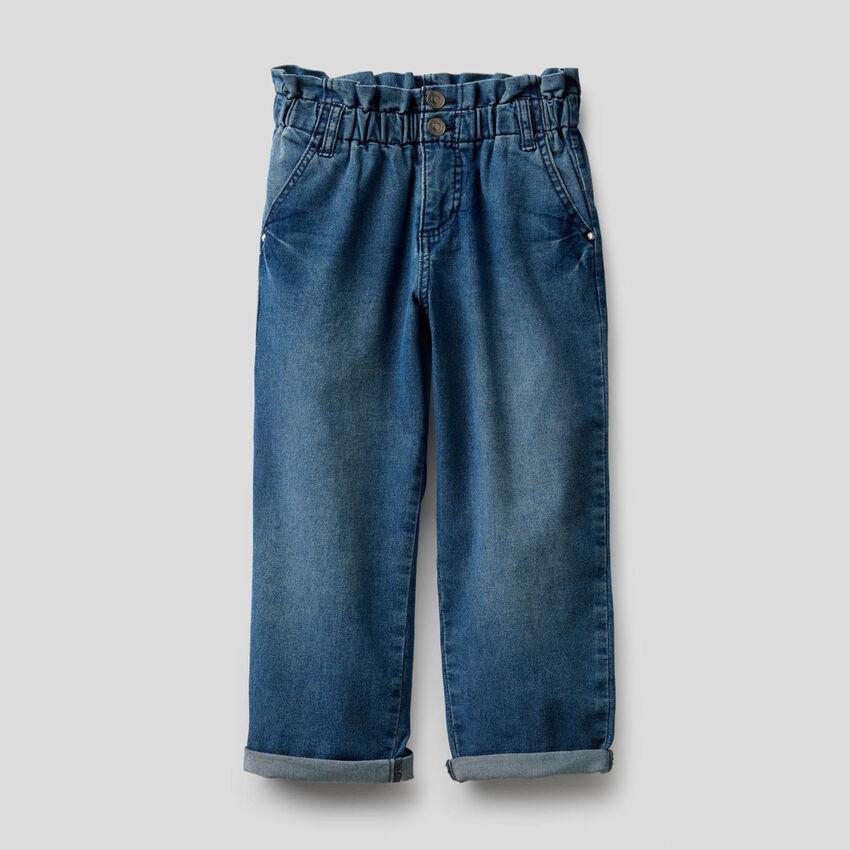 Jeans paperbag en coton mélangé stretch