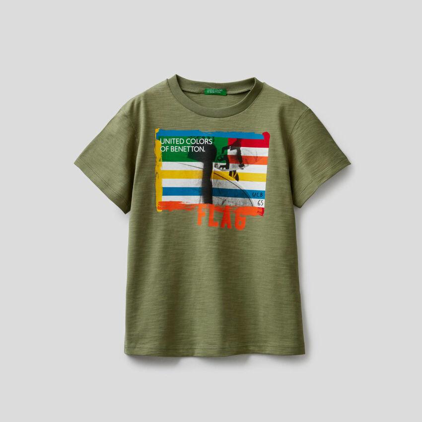 T-shirt en coton avec imprimé surf
