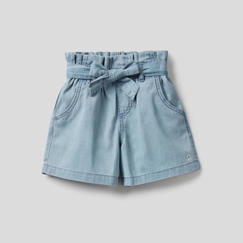 Short à taille haute en 100% coton