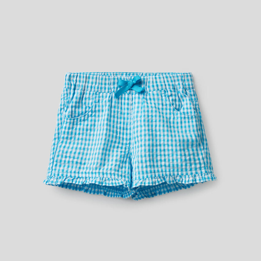 Shorts fantasia vichy azzurra