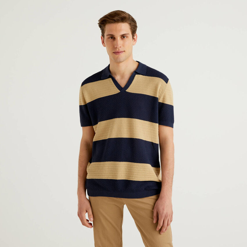 Polo en maille à rayures