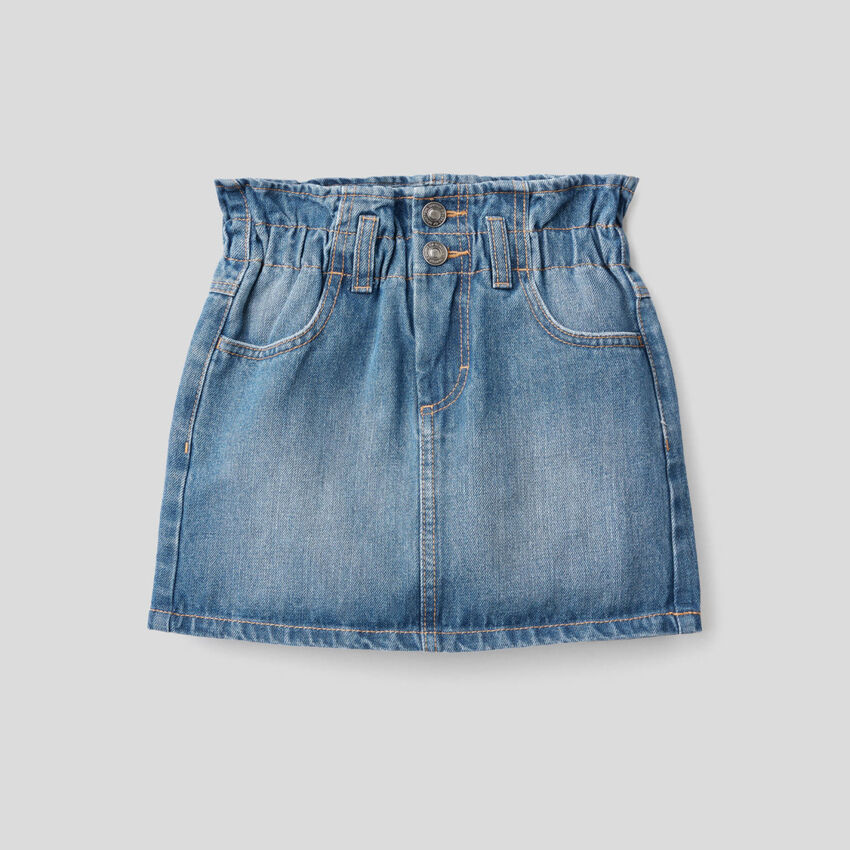 Jupe en jeans avec taille froncée