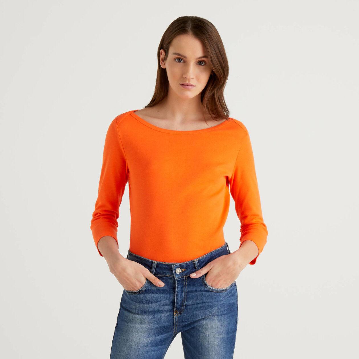 T-shirt con scollo a barchetta 100% cotone