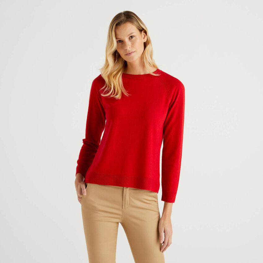 Pull col rond rouge en mélange de laine et cachemire