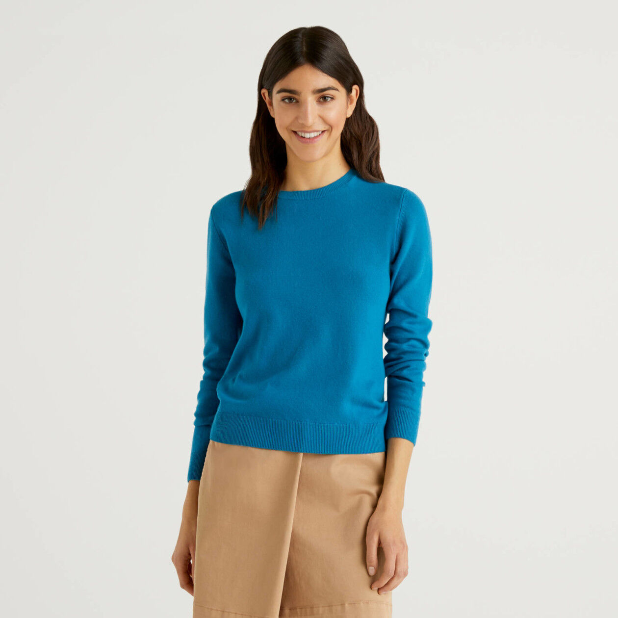 Pull col rond bleu canard en pure laine vierge