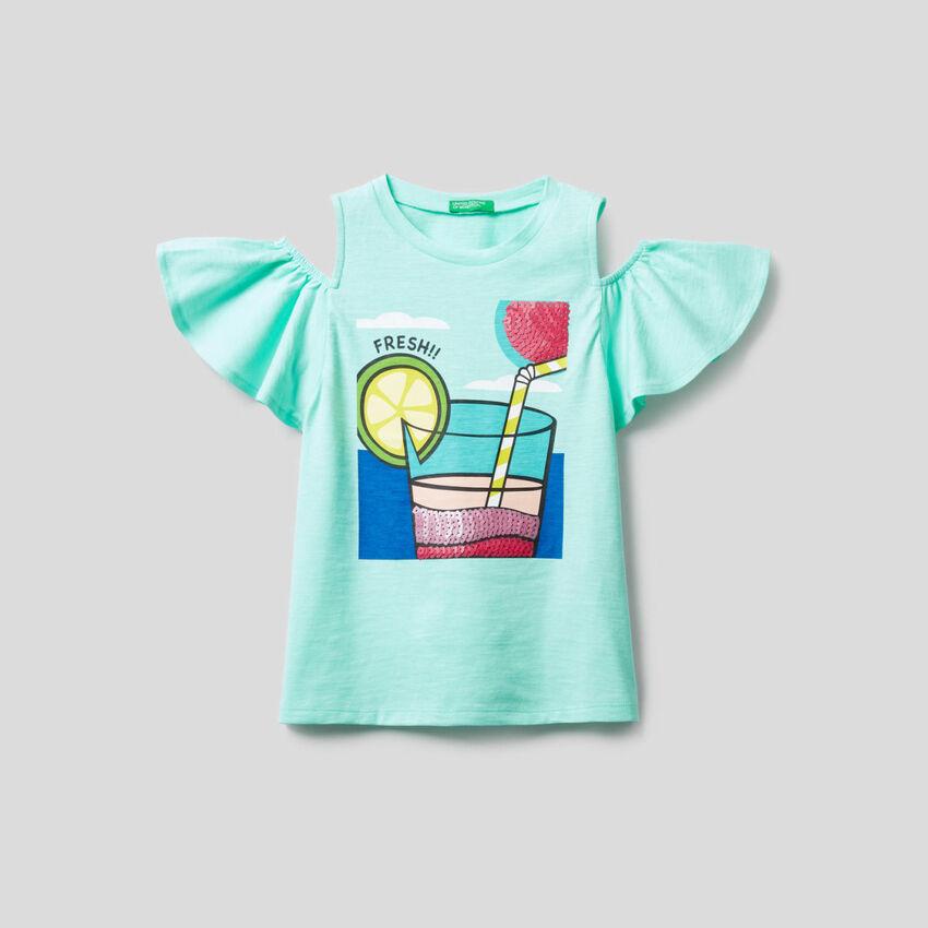 T-shirt avec détails à paillettes