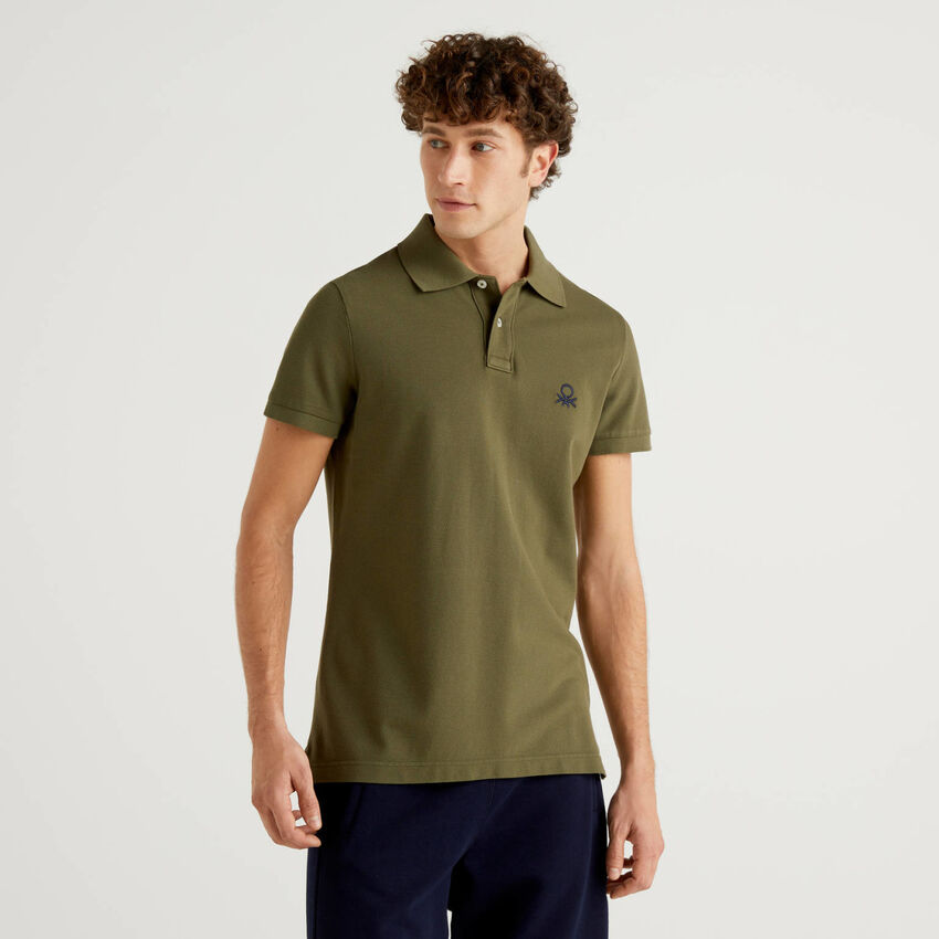 Military green slim fit polo