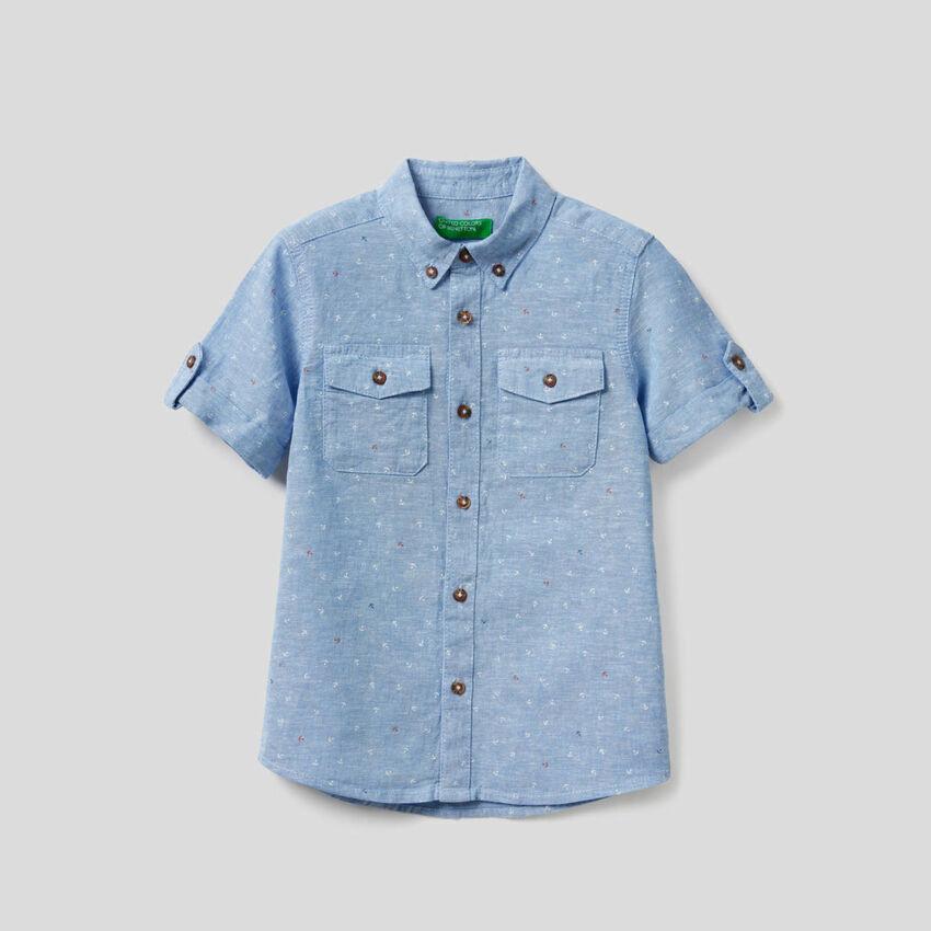 Sportliches Hemd in einer Mischung aus Baumwolle und Leinen