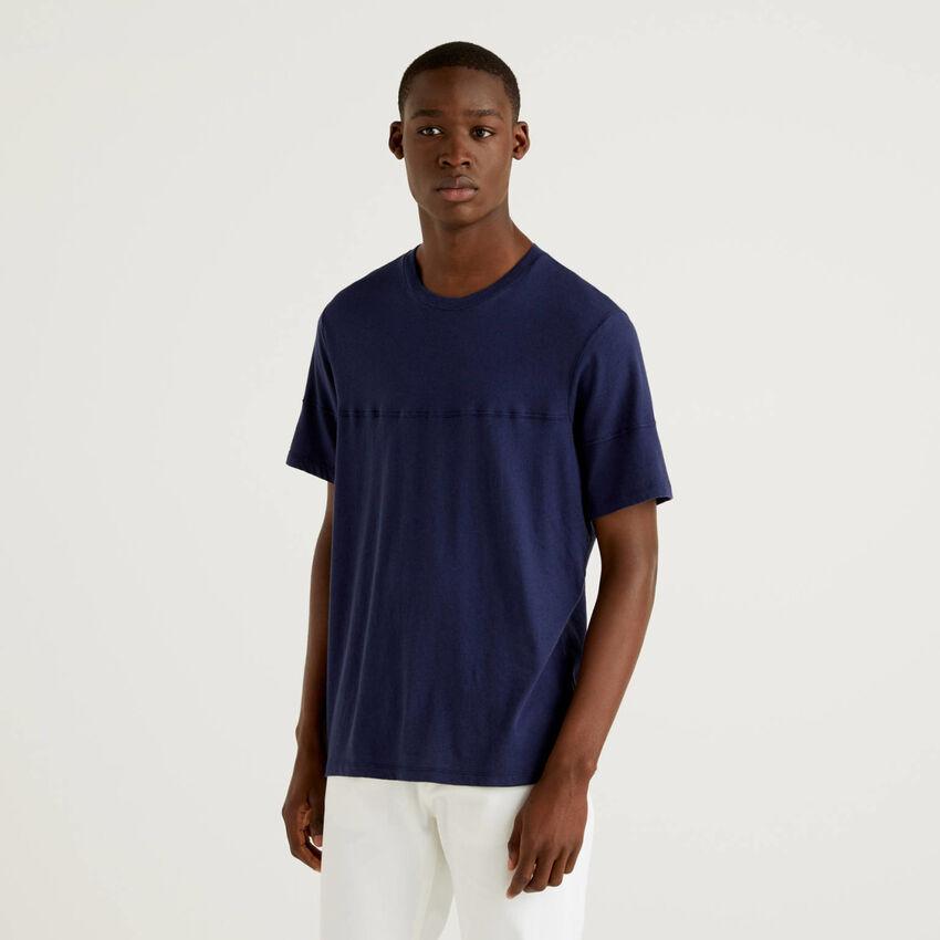 T-shirt uni en lin mélangé
