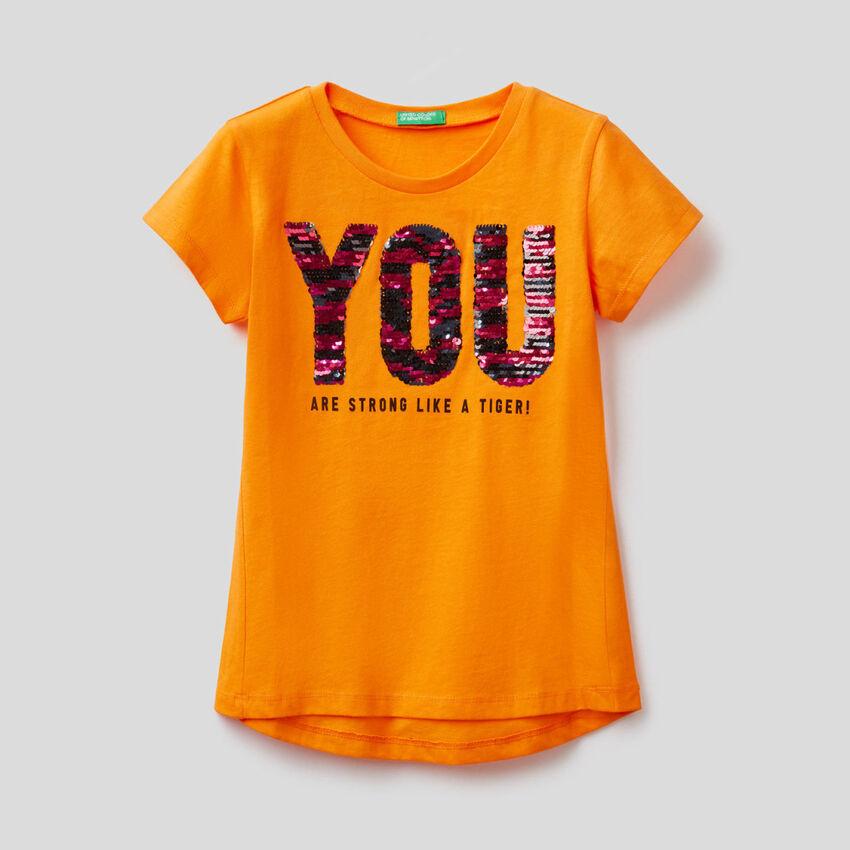 T-shirt in cotone con paillettes