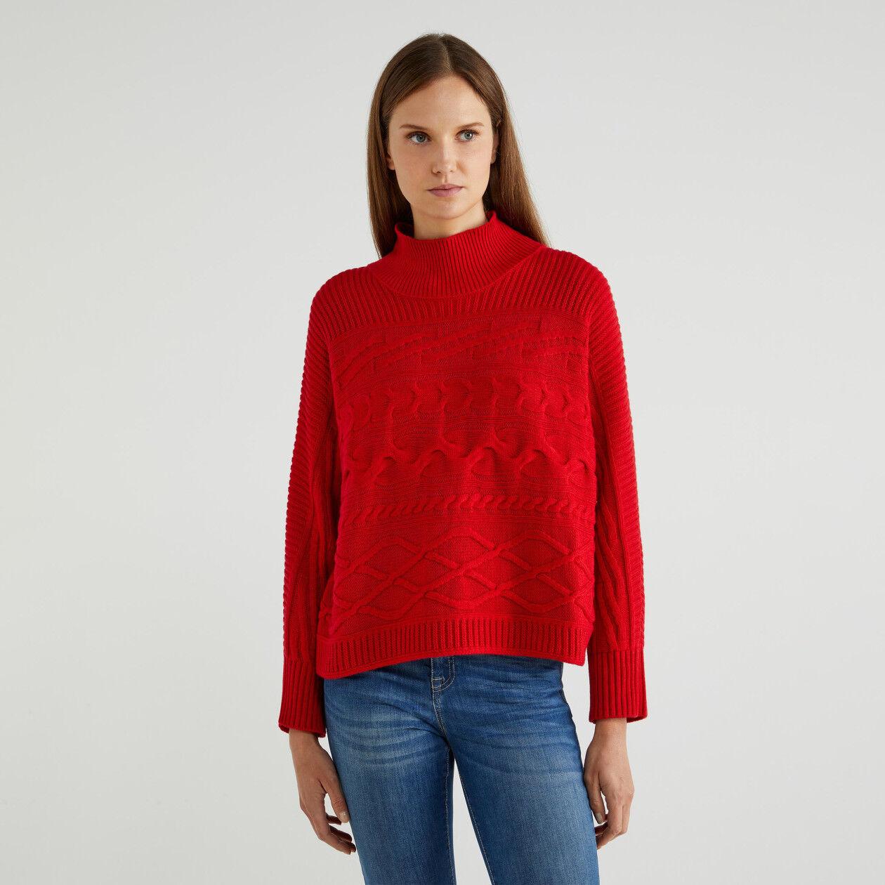 Maglia lupetto in lana e cashmere
