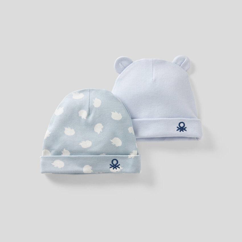 Deux bonnets en 100% coton bio