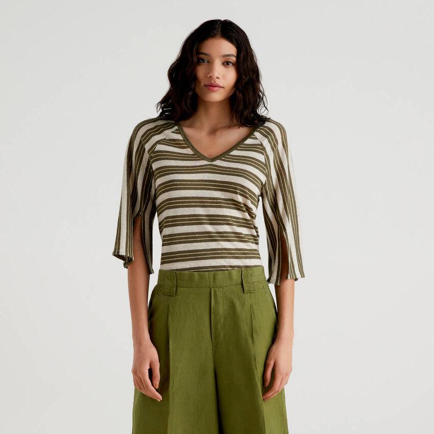 T-shirt a righe con manica a 3/4