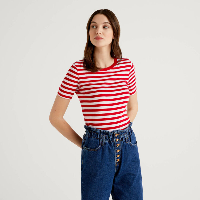 T-shirt col rond à rayures
