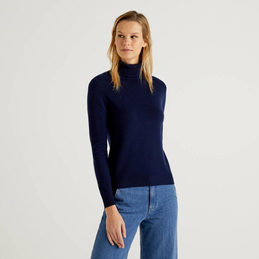 Maglione dolcevita blu scuro in pura lana vergine