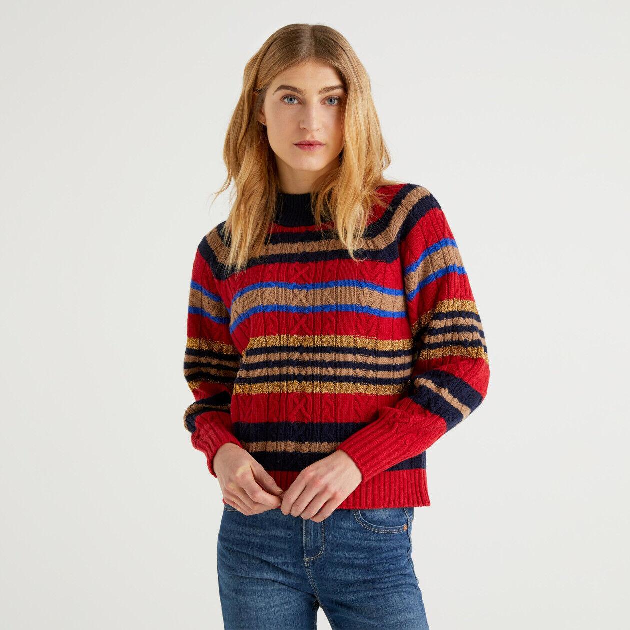 Pullover mit Streifen und Lurex