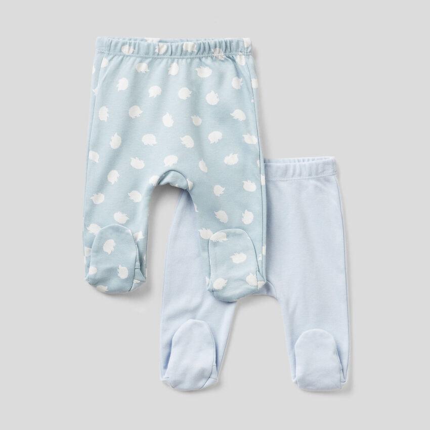 Deux pantalons à pieds en 100% coton bio