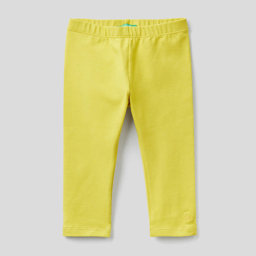 Yellow leggings in stretch cotton
