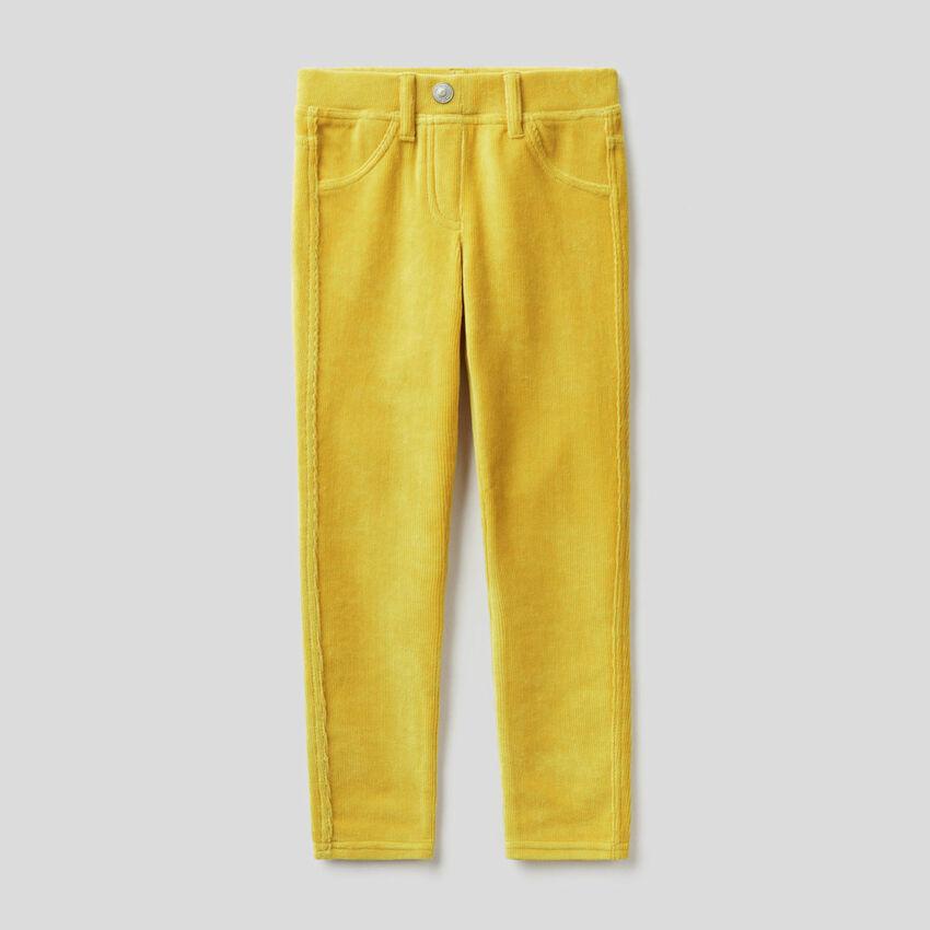 Pantaloni super skinny in ciniglia