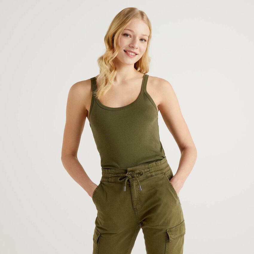 Débardeur vert kaki en pur coton