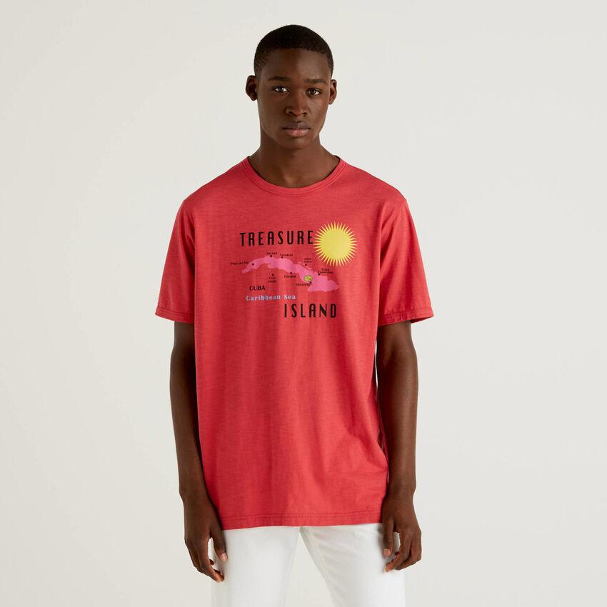 T-shirt rouge 100% coton avec imprimé