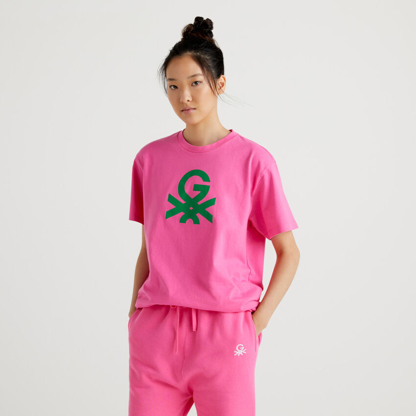 T-shirt unisexe fuchsia avec logo by Ghali