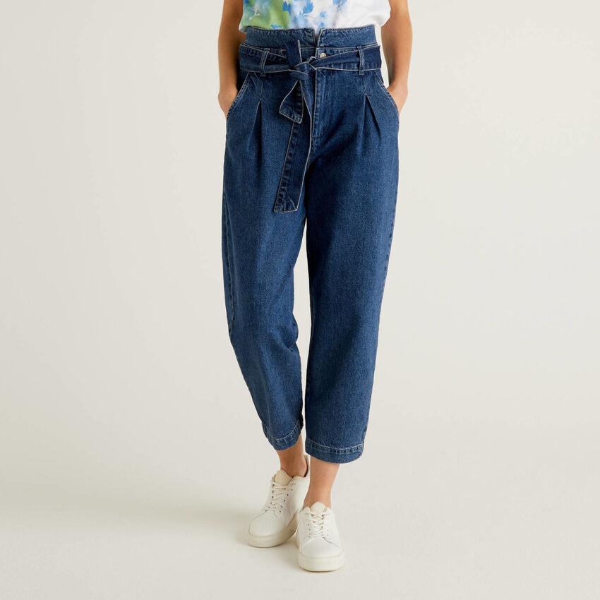 Jeans paperbag en 100% coton