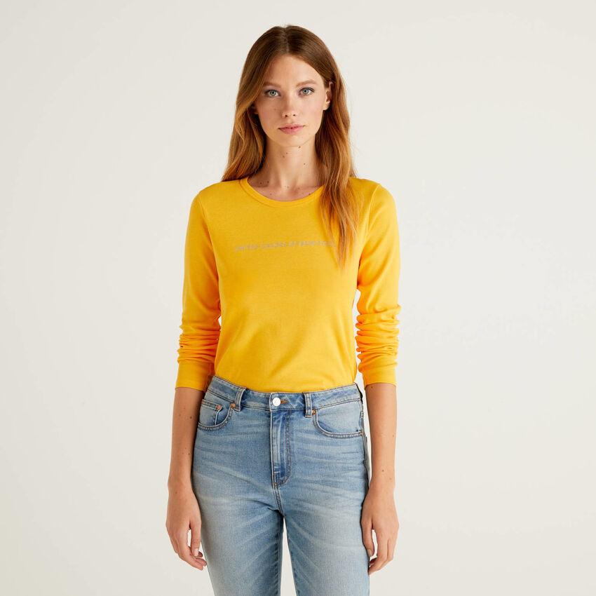 T-shirt gialla a manica lunga 100% cotone