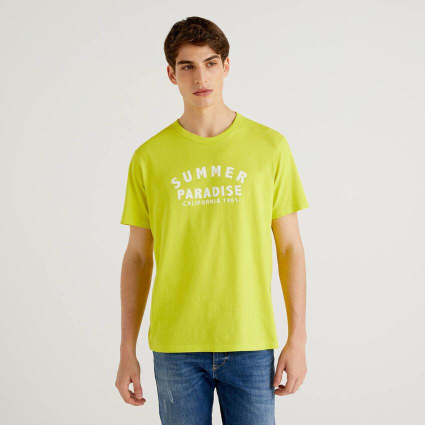 T-shirt giallo lime 100% cotone con stampa