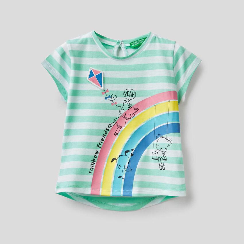 T-shirt à rayures en 100% coton
