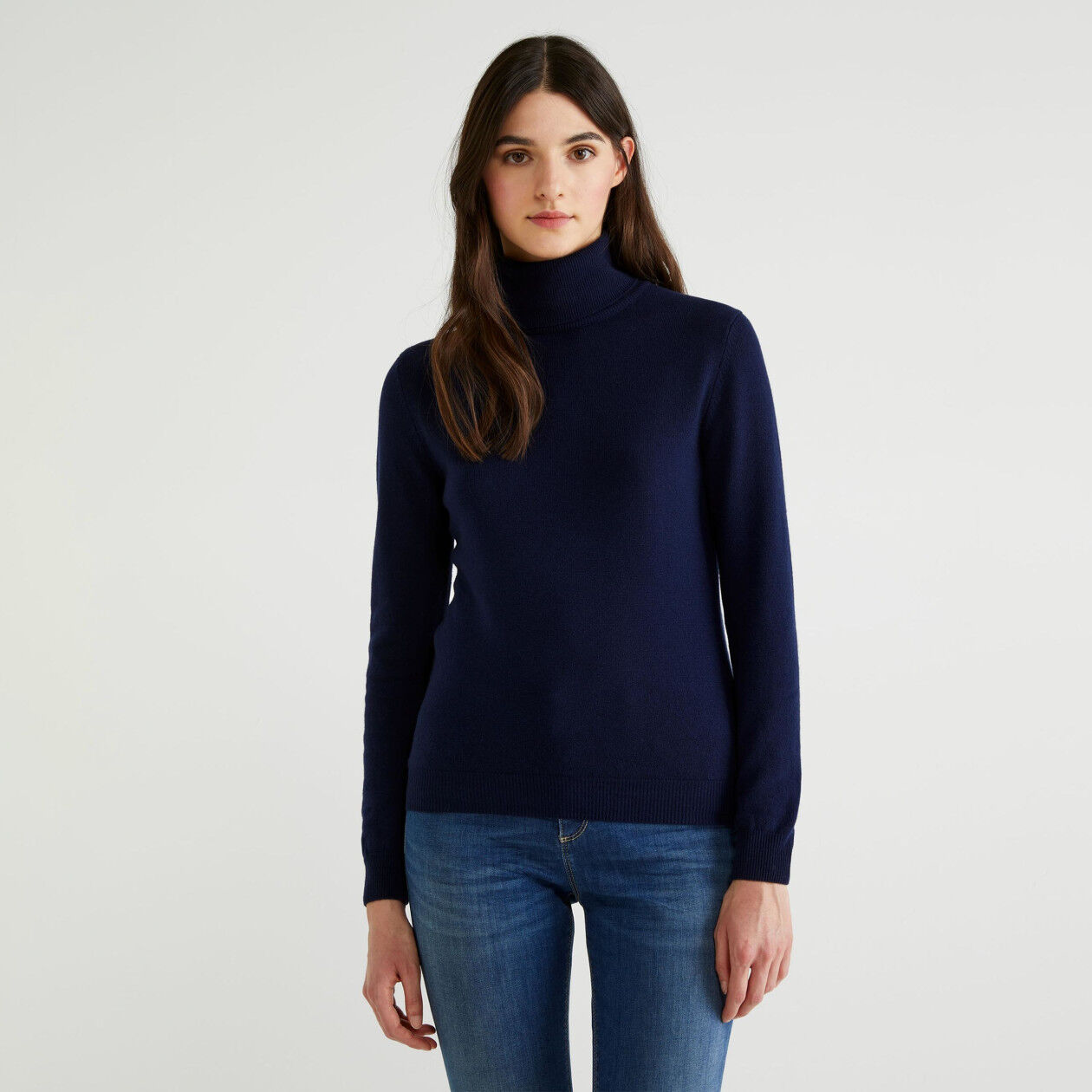 Pull col montant 100% laine vierge