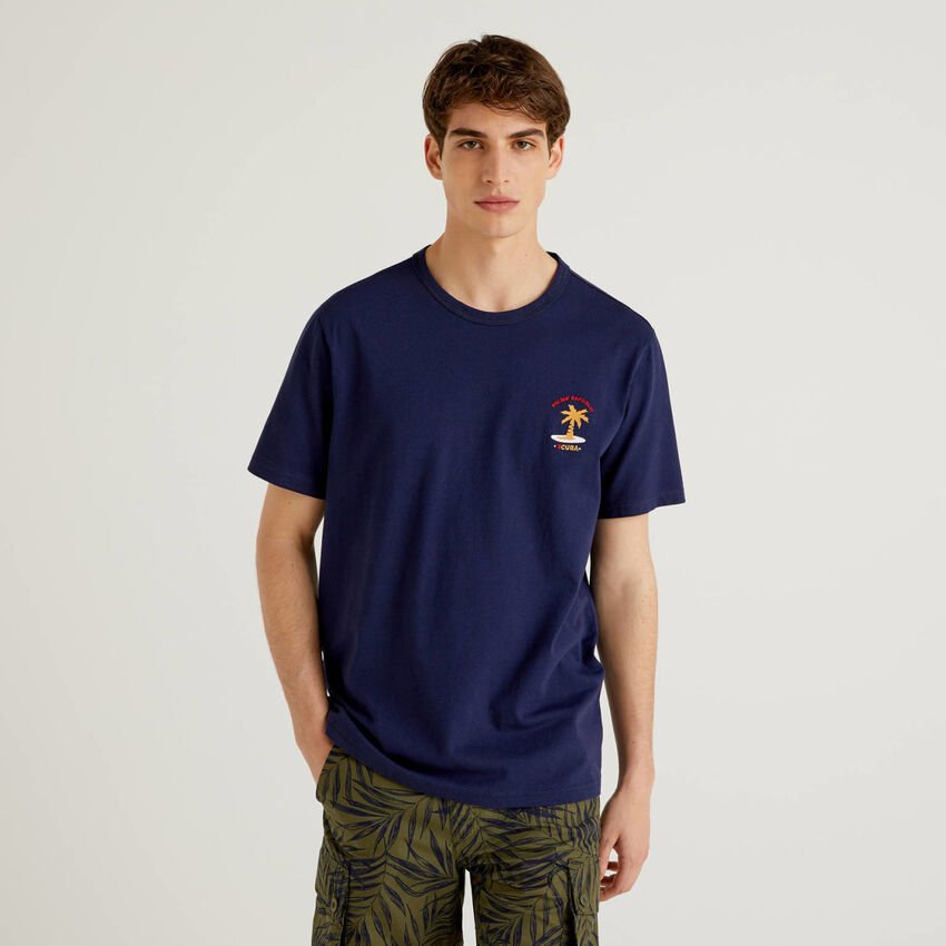 T-shirt en pur coton avec broderie