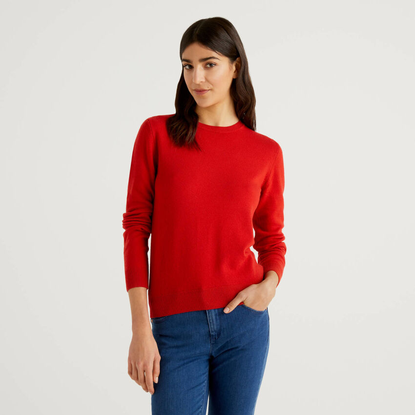 Pull col rond rouge en pure laine vierge
