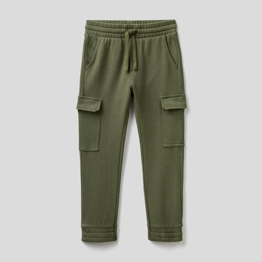 Pantalon cargo en molleton de coton